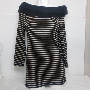 Black & White Striped Off-Shoulder Sweater Dress